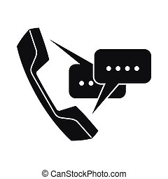Handset with speech bubbles icon, simple style - Handset...