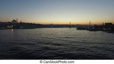 Golden Horn Bay - ISTANBUL, TURKEY - 31 MARCH 2016: Evening...