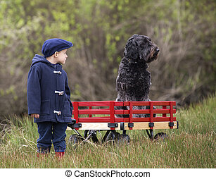 small boy with wagon and dog - small boy with his large...