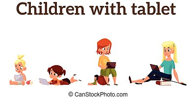 Children play in the smartphone or tablet - Children girls...