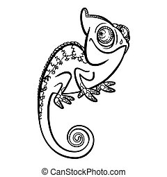 chameleon - funny cartoon cute chameleon
