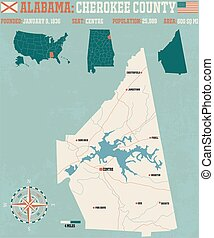 Cherokee County in Alabama USA - Large and detailed map and...