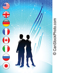 Business team on binary code background with flags