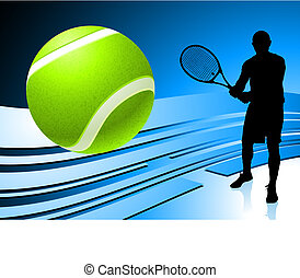 Tennis Player on Abstract Blue Background Original Vector...