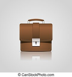 Brown business briefcase icon
