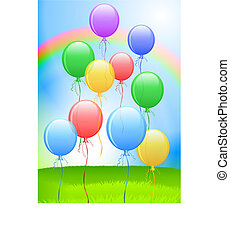 Balloons On Internet Background