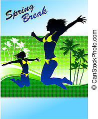 Sexy Young Woman on Spring Break Background Original Vector...
