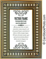 Luxury vintage ornate frame for your text or photo. Royal...