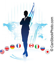 Businesswoman Leader on World Map with Flags