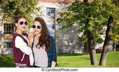Jugendlich, sonnenbrille, mädels, hübsch, Lächeln, glücklich