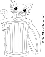 Stray Cat Coloring Page - Stray cat peeking out of the trash...