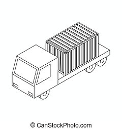 Cargo container on truck icon, isometric 3d style - Cargo...