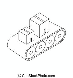 Conveyor belt with boxes icon, isometric 3d style