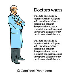 Old male doctor standing arms crossed - Doctor man. Old man....