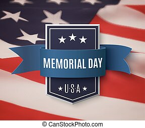 Memorial Day background template. Badge with blue ribbon on...