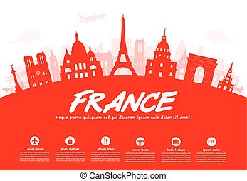 France, Paris Travel Landmarks Vector and Illustration