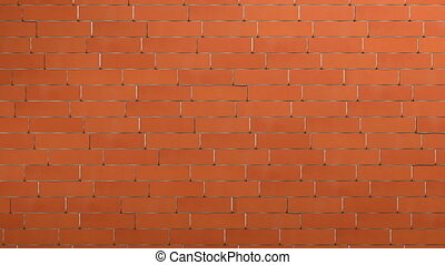 Crashing red brick wall revealing white background behind