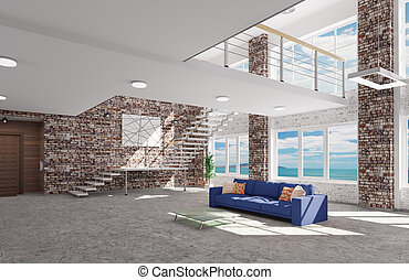 Interior of living room with blue sofa 3d rendering
