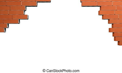 Restoring damaged brick wall - Damaged brick wall on white...