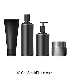 set realistic black jars for cosmetics