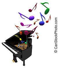 piano concert - three-D illustration of grand piano with...