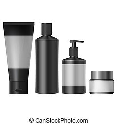 set realistic black cosmetic jars