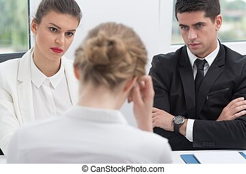 Uncertain woman on interview - Uncertain stressed woman...