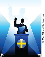 Sweden Leader Giving Speech on Stage