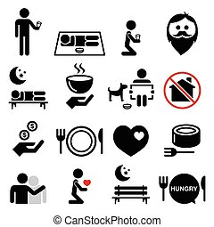 Homeless, poverty, man begging - Vector icons set isolated...