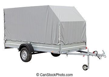 Tarpaulin car trailer. - Tarpaulin car trailer, isolated on...