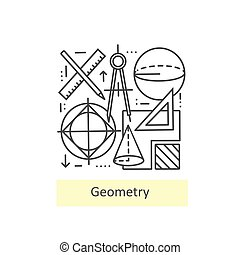 Modern thin line icons of geometry. - Modern thin line icons...