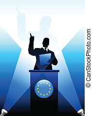 European Union Leader Giving Speech on Stage Original Vector...