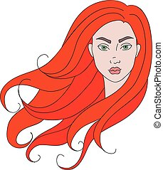 Girl with red hair. - Isolated illustration of a girl head...