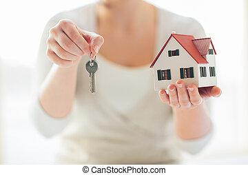 llaves, casa, Arriba, tenencia, Manos, cierre, modelo