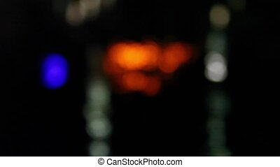 light focus - Defocused night traffic lights-Konya