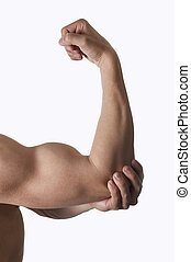 muscular body man holding elbow sore in pain in body health...