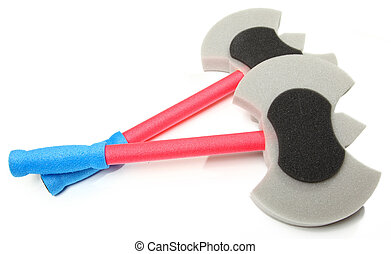 Foam Axe Weapons - Double toy foam axe weapons over white...