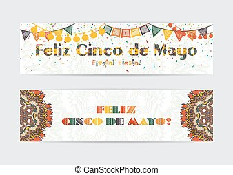 Cinco de Mayo fifth of May Day banners set.