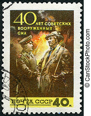 USSR - 1958: shows Soldier and Civilian, series 40th...