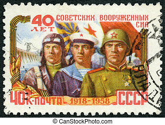 USSR - 1958: shows Airman, sailor and soldier, series 40th...