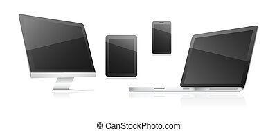 Technological communication devices on a white background. Computer, tablet, smart phone and laptop.