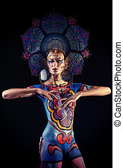body painting - Art project: portrait of a woman with...