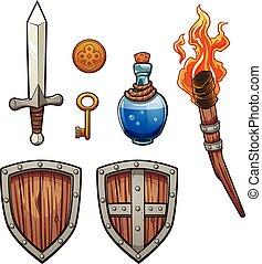 Fantasy items - Fantasy themed items. Vector clip art...