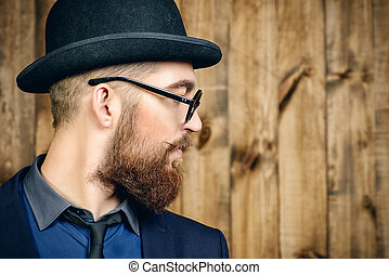 old style fashion - Profile portrait of an elegant man...