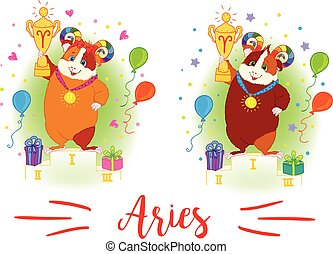 The signs of the zodiac. Guinea pig. Aries. - The signs of...