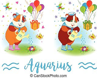 The signs of the zodiac. Guinea pig. Aquarius. - The signs...