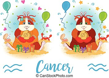 The signs of the zodiac. Guinea pig. Cancer. - The signs of...
