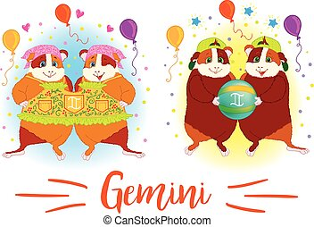 The signs of the zodiac. Guinea pig. Gemini. - The signs of...