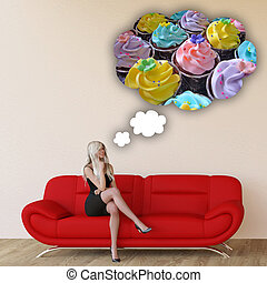 Woman Craving Cupcakes Concept with House Interior Art