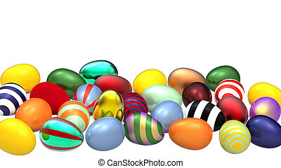 Colored eggs - A lot of colored eggs on white background, 3d...